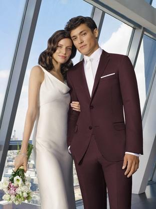 Burgundy Wedding Suit Ike Behar Rental