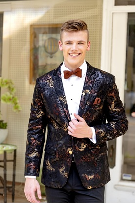 Ryan Ombre Floral Suede Prom Suit