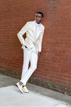 Ivory with Gold Lame' Splash Tuxedo Prom Rental